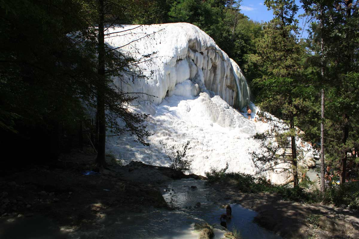 White mineral deposits hot springs of bagni san filippo