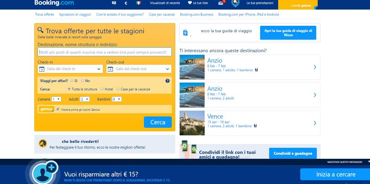 15 euro in regalo se prenoti su booking.it e318d6cba7b4